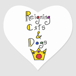 Reigning Cats and Dogs Heart Sticker