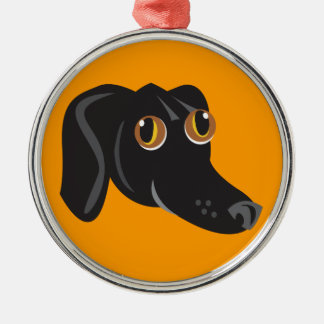 Reigning Cats & Dogs_Furry Faces_Little Mo Metal Ornament