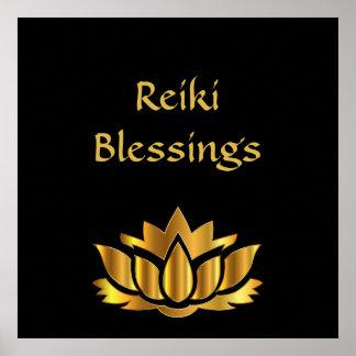 Reiki Blessings Black/Gold Poster