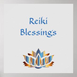 Reiki Blessings White/Gold/Blue lotus flower Poster