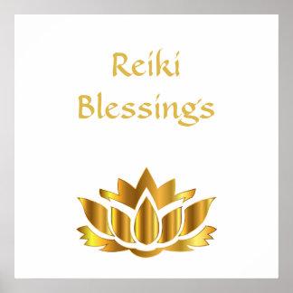 Reiki Blessings White/Gold Poster