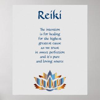 Reiki Blue/Gold lotus flower Poster