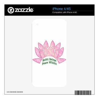 Reiki Brings Peace Lotus Skin For iPhone 4