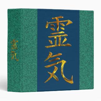 REIKI / GOLD   green splatter, dark blue 3 Ring Binder