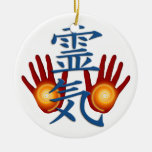 Reiki Hands Double-Sided Ceramic Round Christmas Ornament