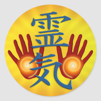 Reiki Hands | yellow radial Classic Round Sticker