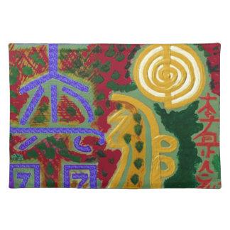 Reiki Healing Symbols by Navin Joshi Artist Canada Cloth Placemat