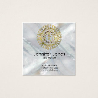 Reiki Healing Symbols in gold mandala Square Business Card