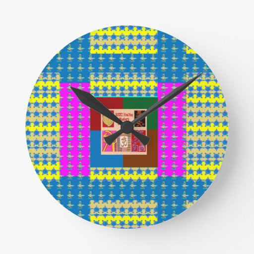 REIKI Healing Symbols on Full Energy Mandala Color Round Wall Clock