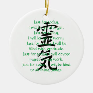Reiki Kanji and Precepts with Usui Double-Sided Ceramic Round Christmas Ornament