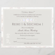 Reiki Master Moon Certificate of Completion Award