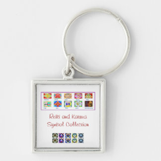 Reiki Master Tools - Symbols n Giveaways Silver-Colored Square Keychain