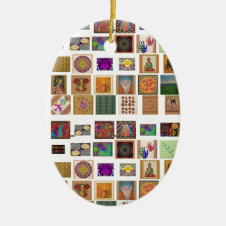 reiki,ommantra,buddha,ganesh,chokurei,chakra,krish Double-Sided oval ceramic christmas ornament