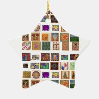 reiki,ommantra,buddha,ganesh,chokurei,chakra,krish Double-Sided star ceramic christmas ornament