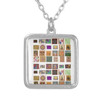 reiki,ommantra,buddha,ganesh,chokurei,chakra,krish square pendant necklace