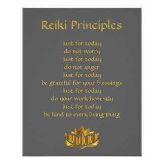 Reiki principles grey and gold poster