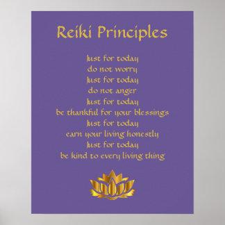 Reiki Principles Purple/Gold lotus Poster