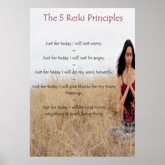Reiki Principles with Meditating Woman Poster
