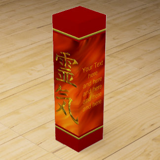 REIKI sign gold + your Text Wine Gift Box