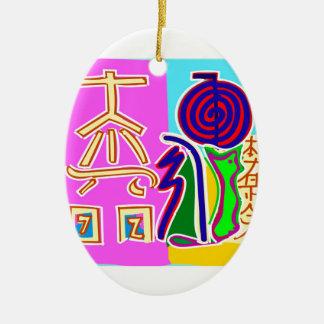 Reiki Symbol Art by Navin Joshi Ceramic Ornament