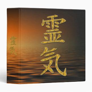 REIKI Symbol gold + ocean sunrise 3 Ring Binder