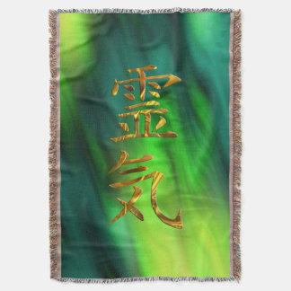 REIKI Symbol gold + your background Throw Blanket