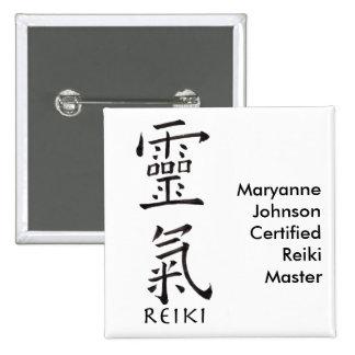Reiki Symbol in Black Ink 2 Inch Square Button