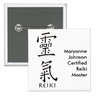 Reiki Symbol in Black Ink Pinback Button