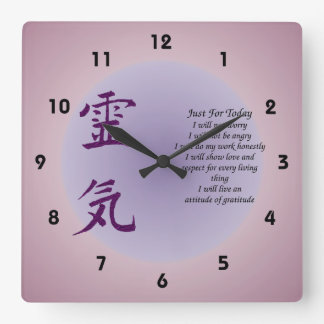 Reiki Symbol Just For Today Inspirational Square Wall Clock