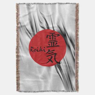 REIKI Symbol red black + your background Throw Blanket