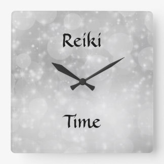 Reiki Time Silver Sparkle Square Wall Clock