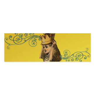 Reilaboration of Vintage Illustration Girl Crown Double-Sided Mini Business Cards (Pack Of 20)