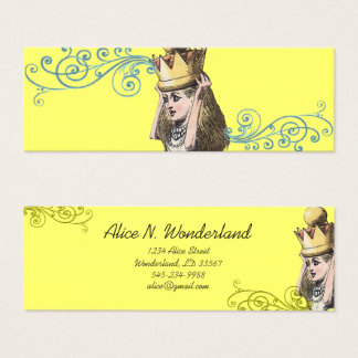 Reilaboration of Vintage Illustration Girl Crown Mini Business Card