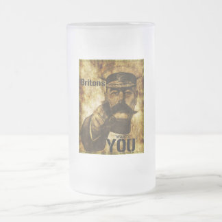 Reimagined Lord Kitchener Wants You Poster Frosted Glass Beer Mug