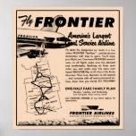 Reimpresión 1953 del anuncio de Frontier Airlines Poster