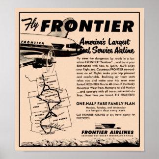 Reimpresión 1953 del anuncio de Frontier Airlines Póster