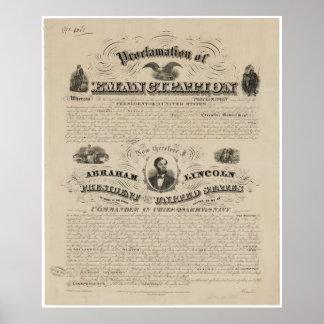 Reimpresión de la proclamación de la emancipación póster
