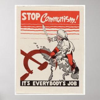 Reimpresión de un poster comunista anti de la prop