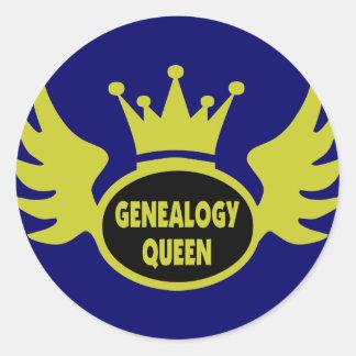 Reina 2 de la genealogía pegatina redonda