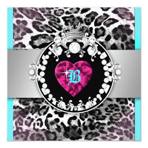 """reina 311-Leopard-Tique del dulce 16 de los Invitación 5.25"""" X 5.25"""""""