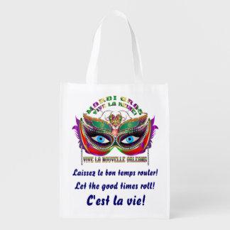 Reina 5 del carnaval leída sobre diseño abajo bolsas reutilizables