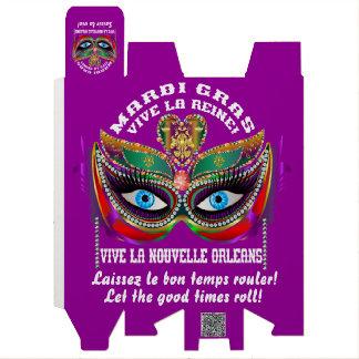 Reina 5 del carnaval leída sobre diseño abajo caja para botella de vino