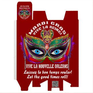 Reina 5 del carnaval leída sobre diseño abajo cajas para vino