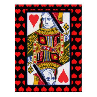 Reina adornada colorida del vintage de corazones tarjeta postal