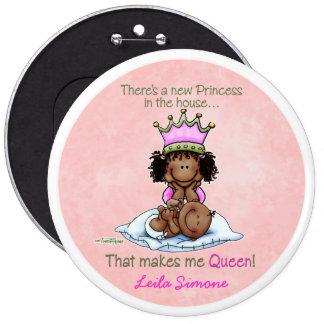 Reina afroamericana - hermana grande pin redondo de 6 pulgadas