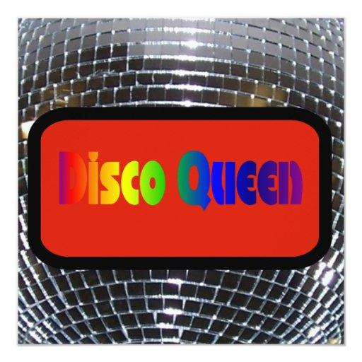 Reina brillante retra del disco del arco iris de invitación 13,3 cm x 13,3cm