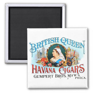 Reina británica La Habana del vintage de los cigar Imán Cuadrado