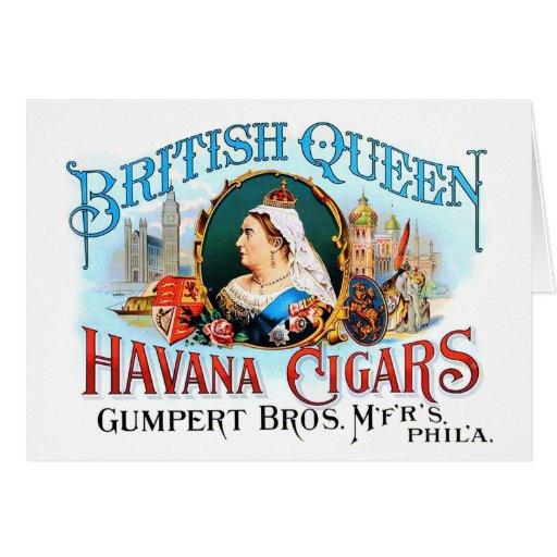 Reina británica La Habana del vintage de los cigar Tarjetón