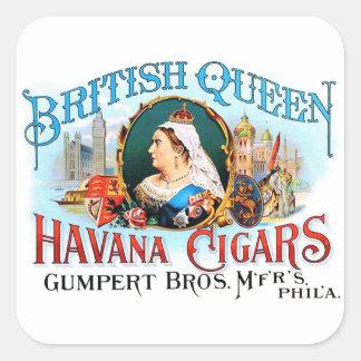 Reina británica La Habana del vintage de los Pegatina Cuadrada