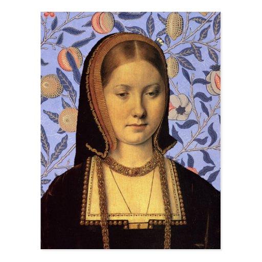 Reina Catherine de Aragón - postal del retrato